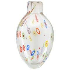 Murano Clear Millefiori Vase