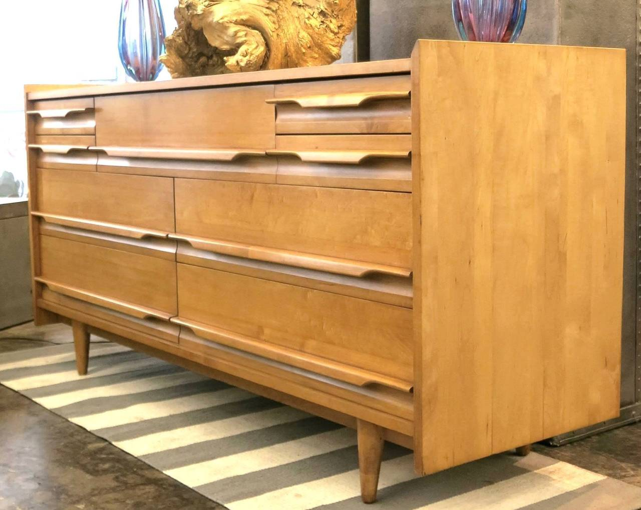 Crawford furniture mid century low dresser of solid maple circa 1950 at 1stdibs for Solid maple bedroom furniture