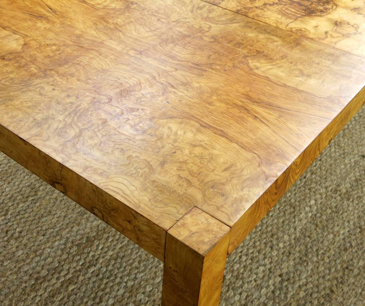 Burled Wood Or Burl Wood Parsons Style Mid Century Modern Dining Table 2