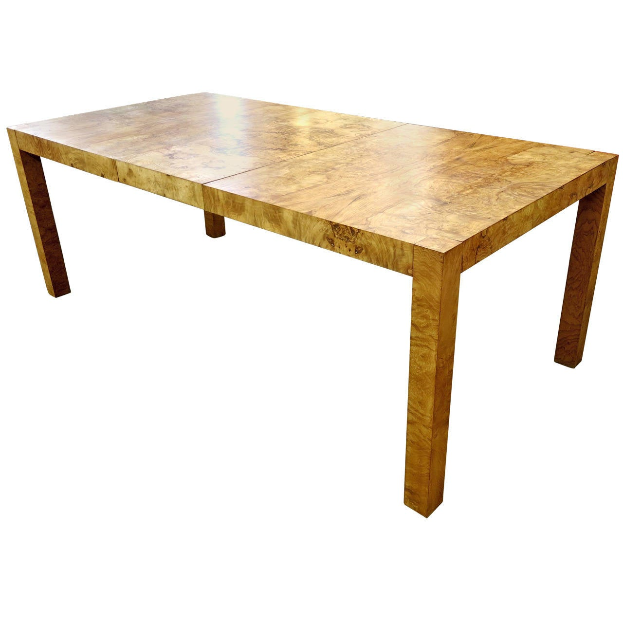 Burled wood or burl wood parsons style mid century modern for Mid century modern dining table