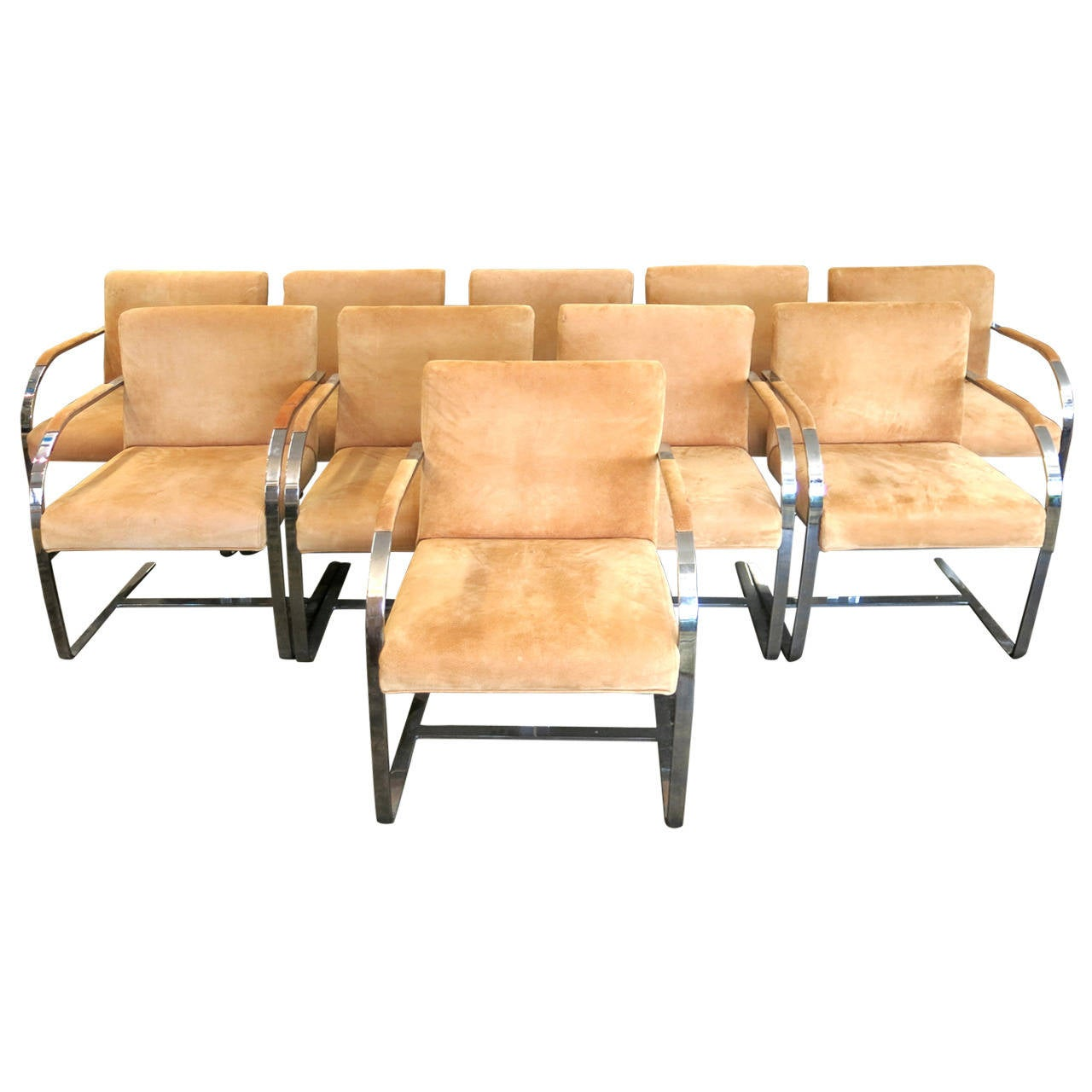 Set of ten cy mann mid century modern dining or conference for Modern chrome dining chairs
