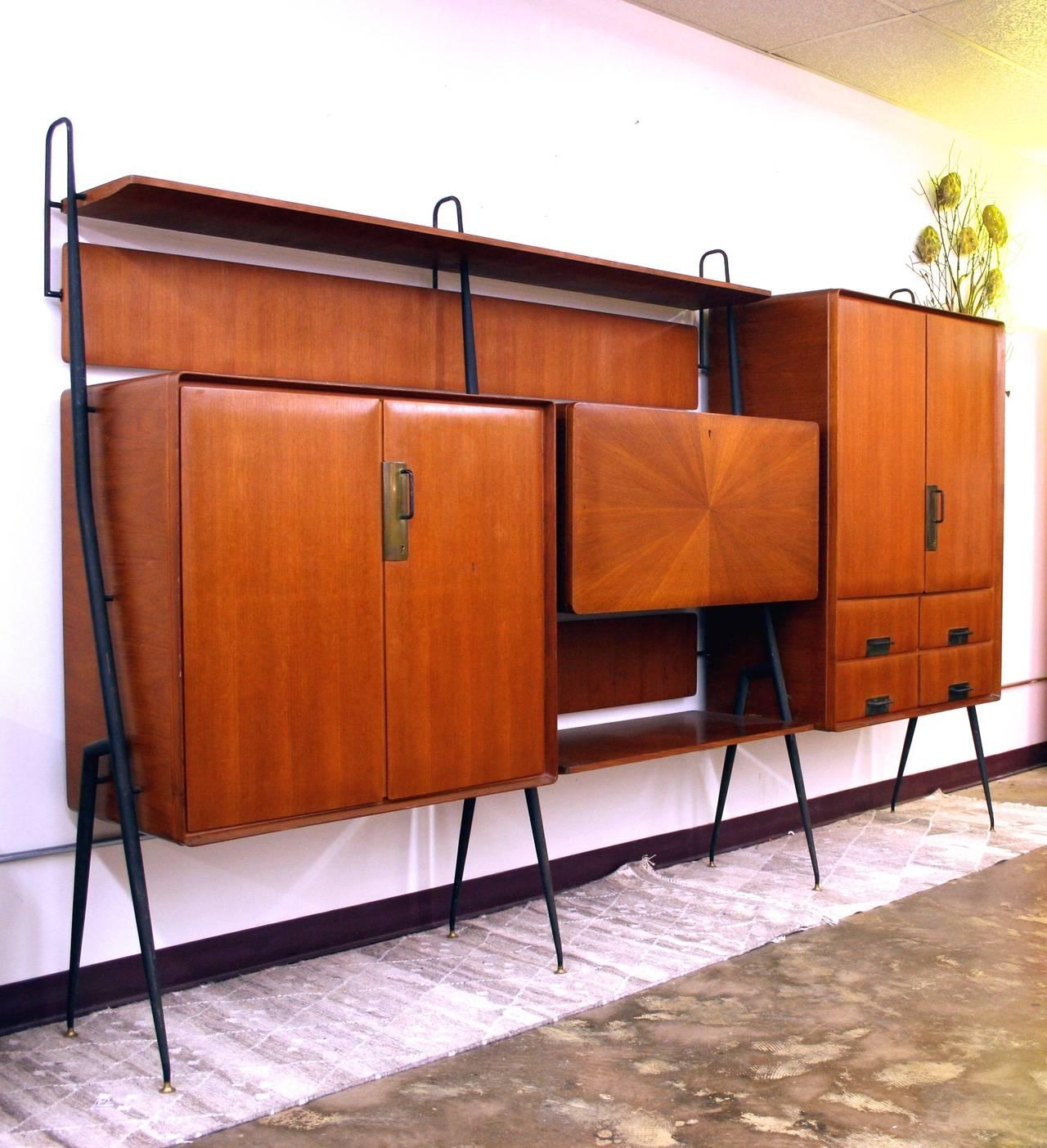 Italian mid century modern wall unit circa 1950s wrought for Modern wall bar unit