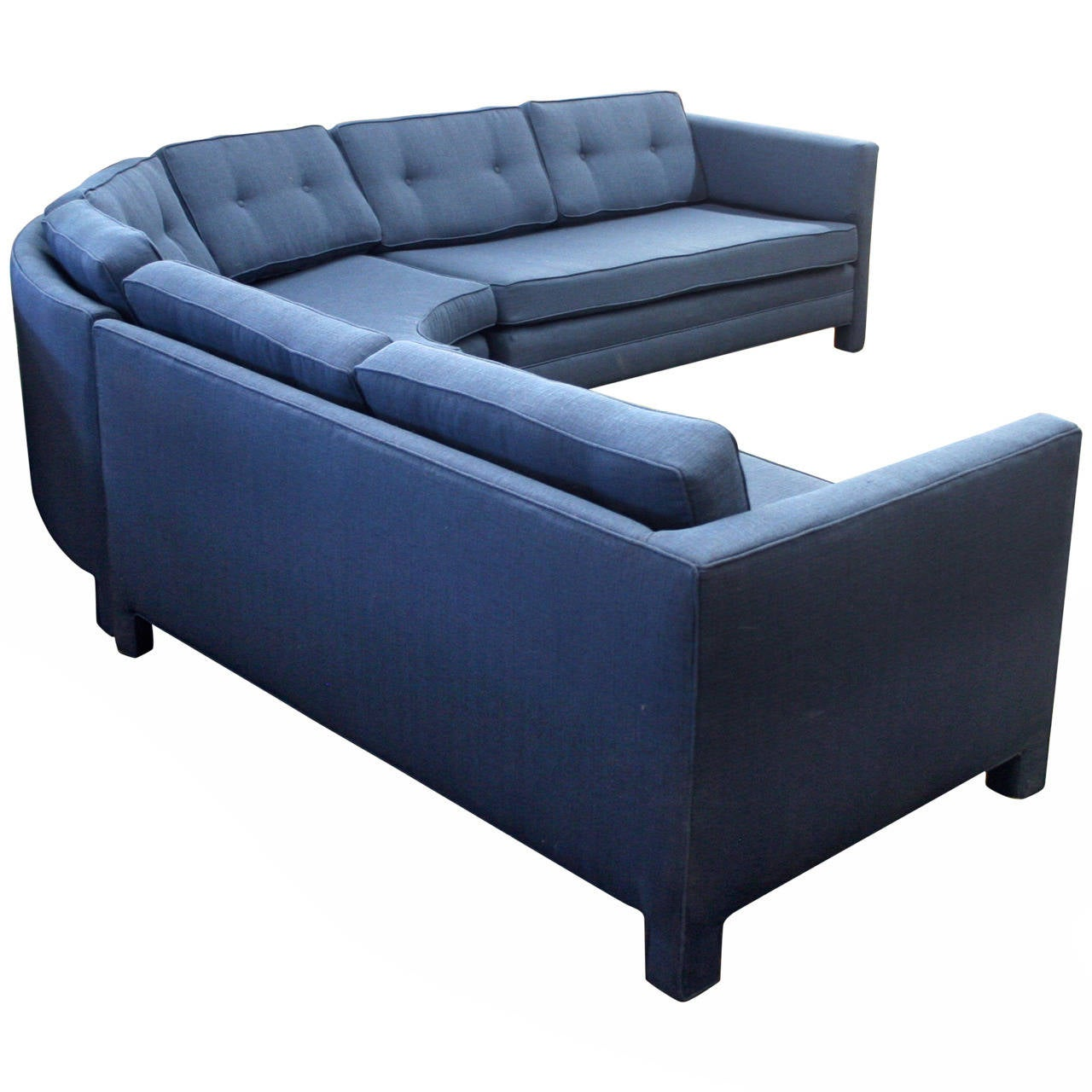 three piece curved parsons style sectional sofa circa