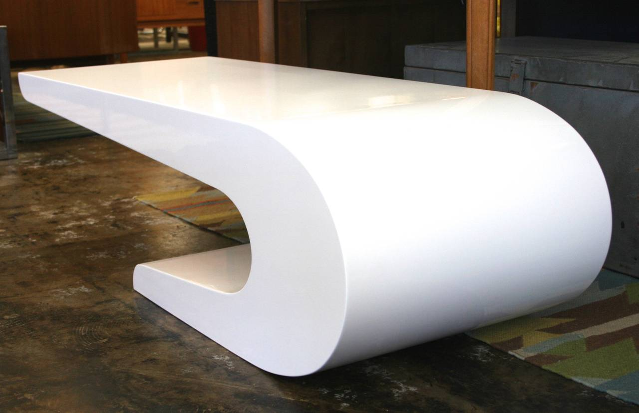 Pierre cardin style coffee table in white lacquer circa Vogue coffee table