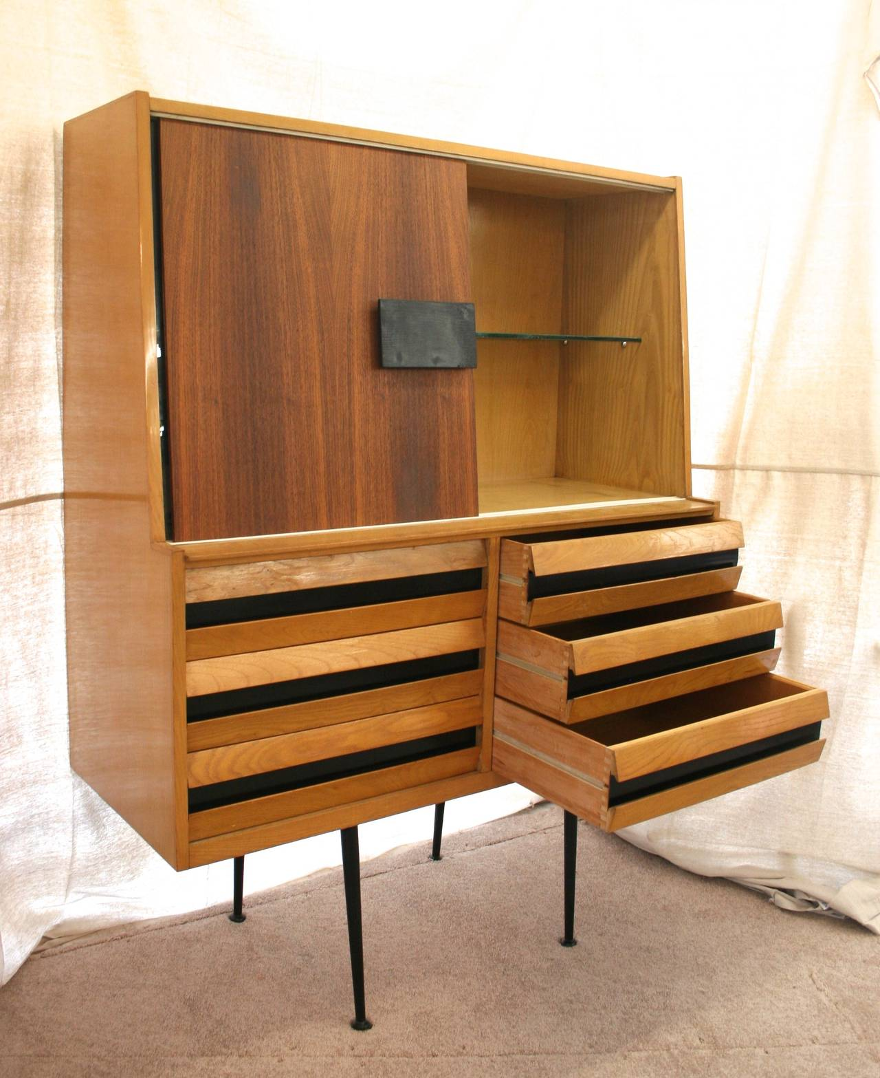 mid century italian modern china cabinet or dry bar at 1stdibs. Black Bedroom Furniture Sets. Home Design Ideas