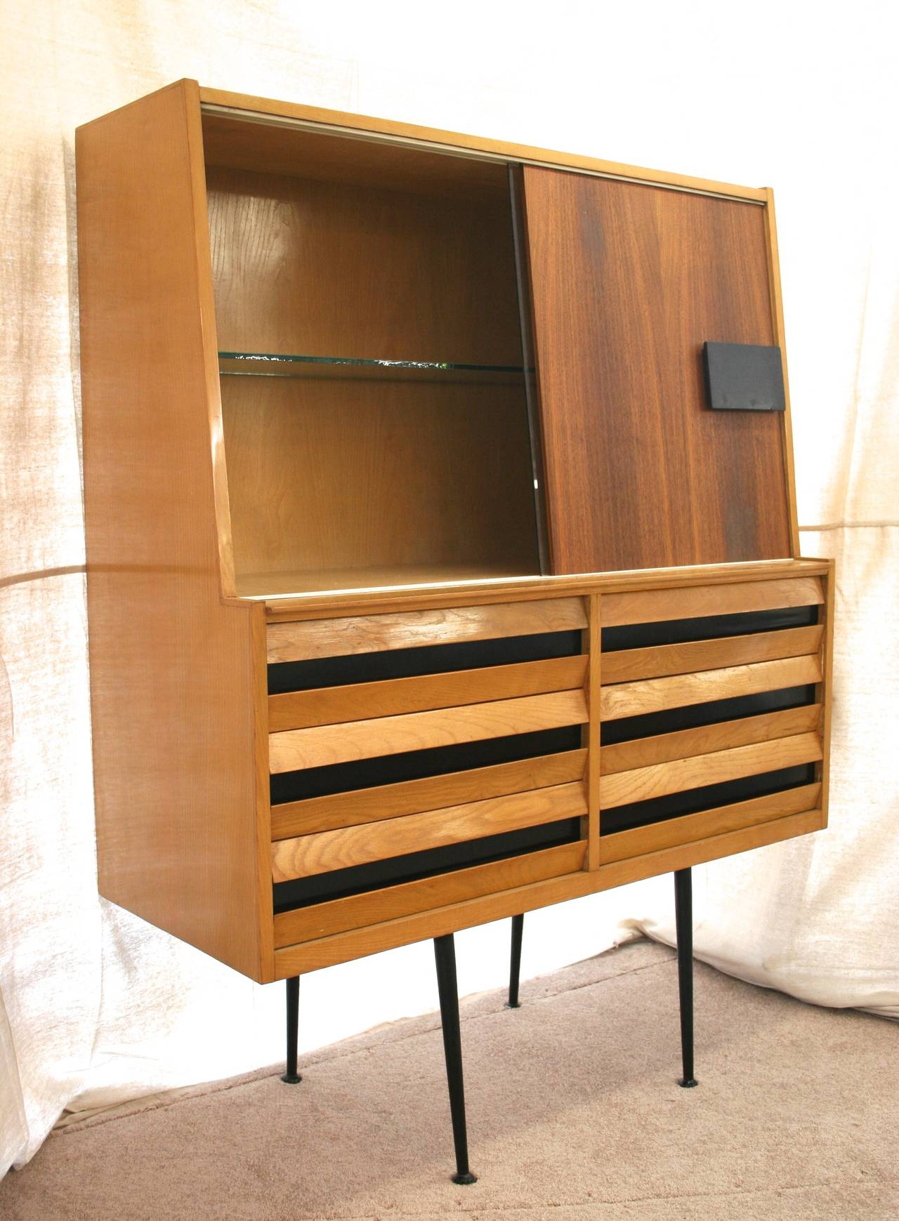 Mid Century Italian Modern China Cabinet Or Dry Bar At 1stdibs