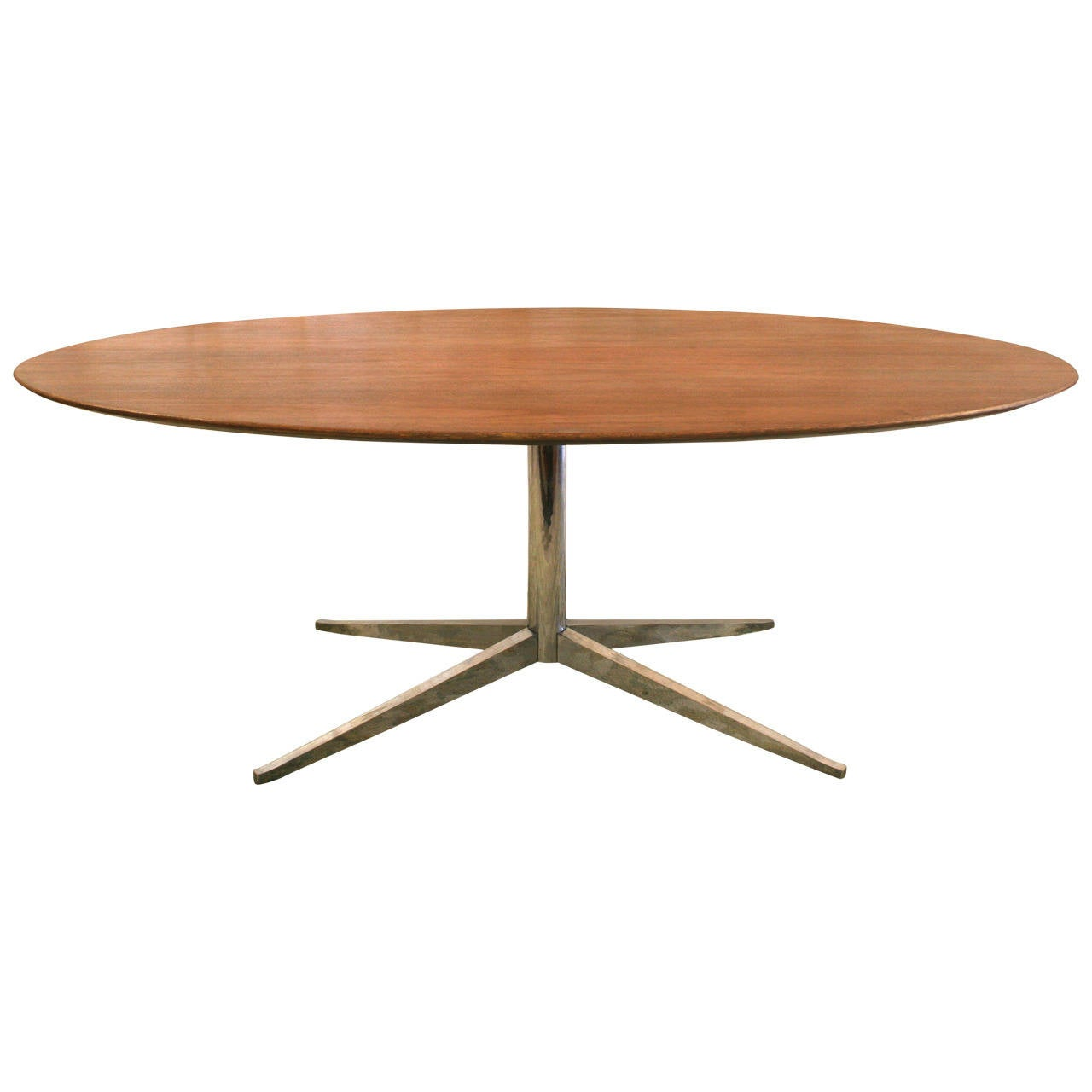 mid century modern florence knoll oval walnut and chromed steel table