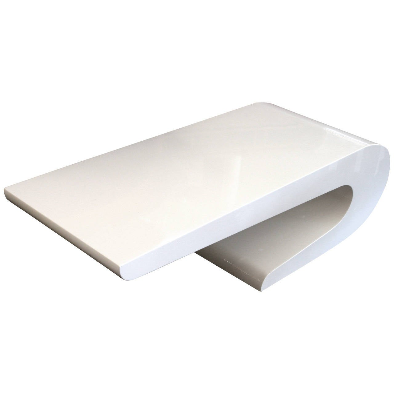 Pierre cardin style coffee table in white lacquer circa for Lacquer coffee table