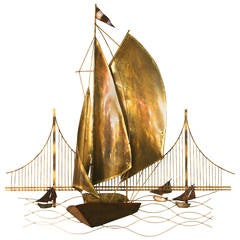 Brass and Copper Sailboat Sculpture in the Style of Curtis Jere