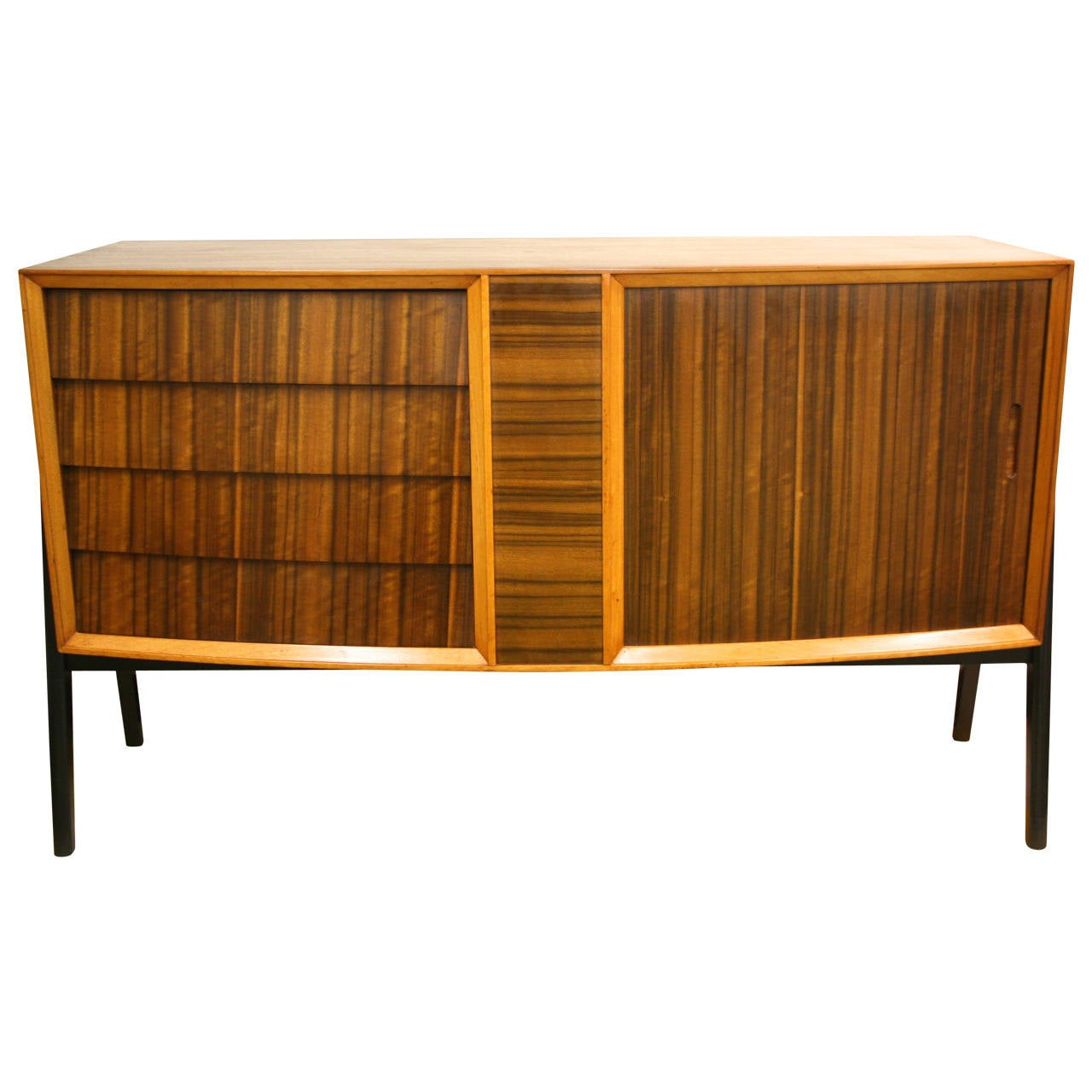 Mid Century Modern Credenza With Curved Front And Tambour