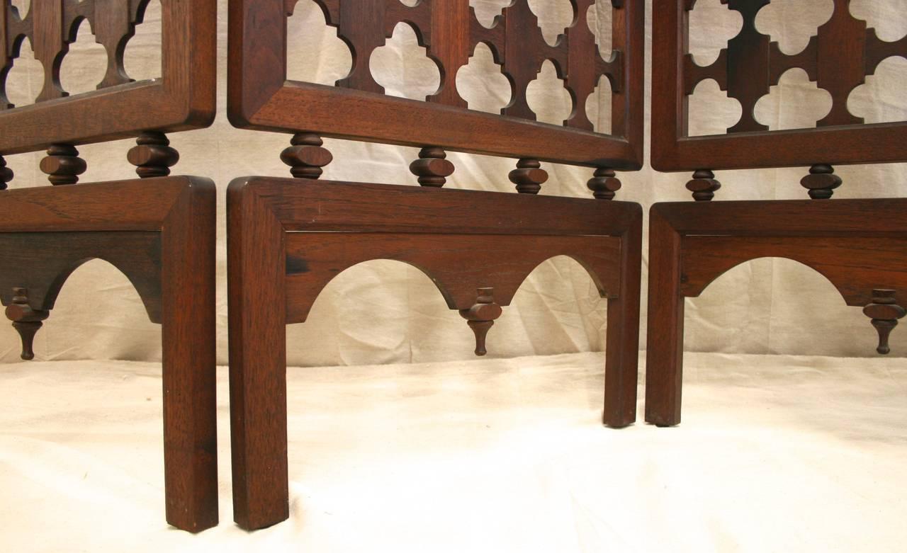 Vintage Four-Panel Highly Carved Wood Room Divider Screen 3 - Vintage Four-Panel Highly Carved Wood Room Divider Screen At 1stdibs