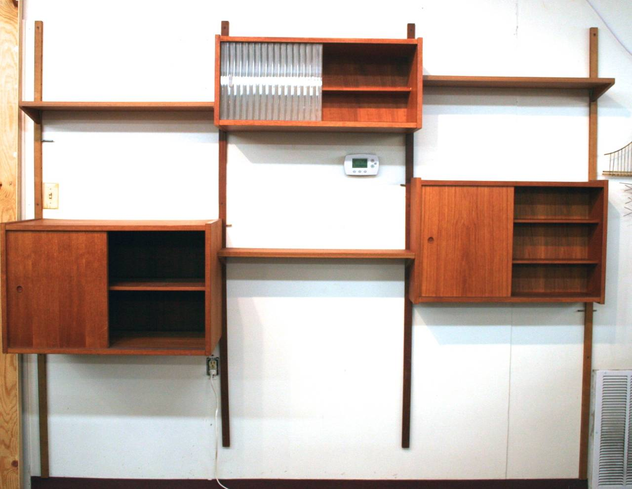 mid century modern scandinavian teak wall unit system. Black Bedroom Furniture Sets. Home Design Ideas