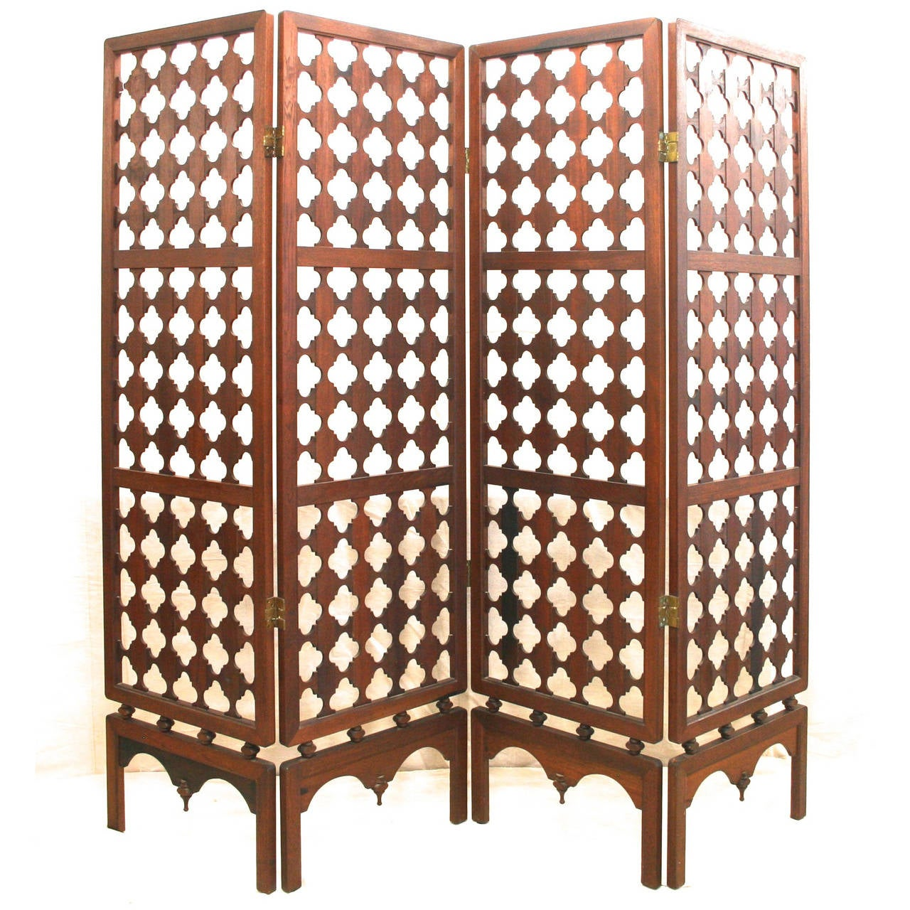 Room Divider Wood vintage four-panel highly carved wood room divider screen at 1stdibs