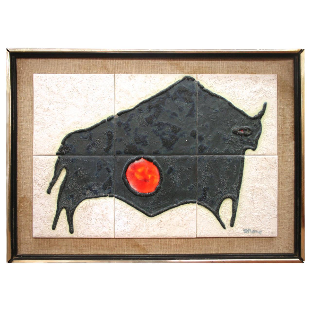 Mid Century Modern Tile Artwork By Harris Strong Circa