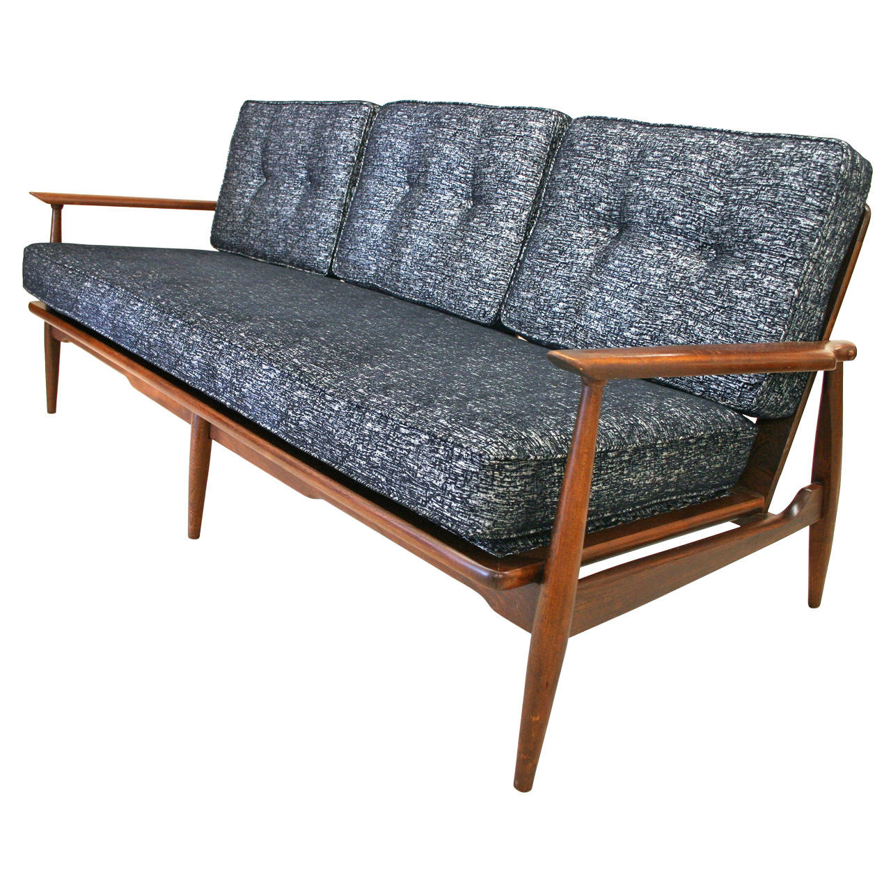 Mid century modern danish sofa with walnut frame and new for Mid century modern sofas