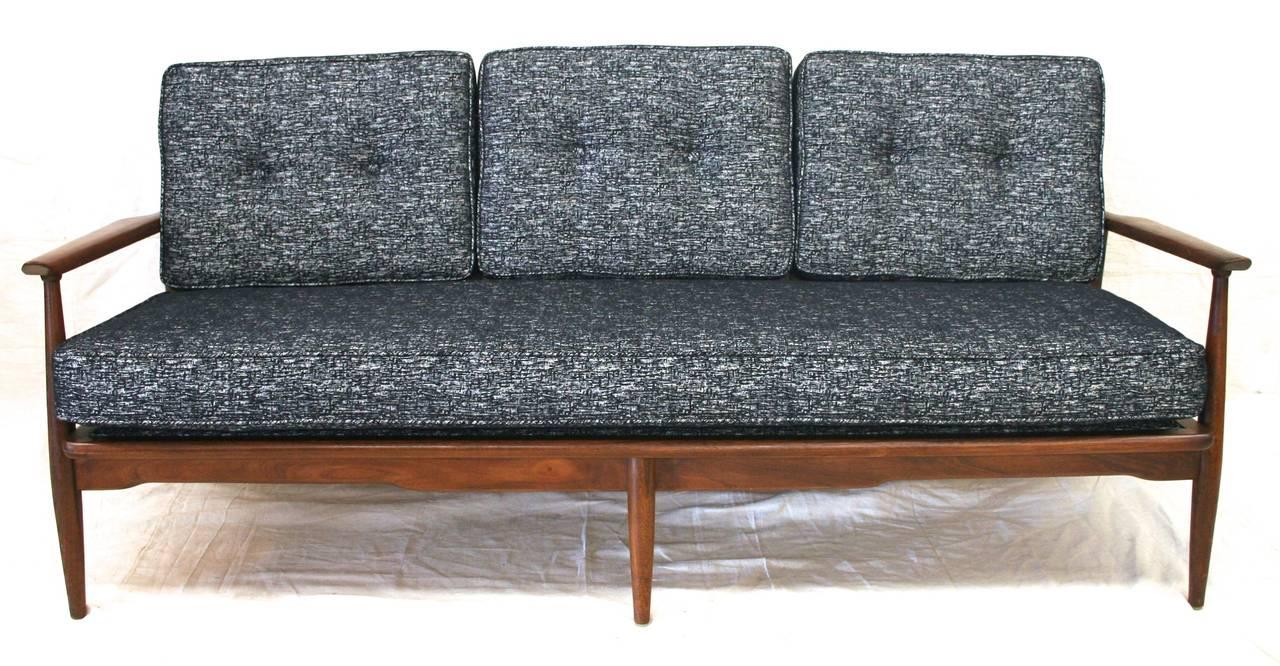 Mid Century Modern Danish Sofa With Walnut Frame And New