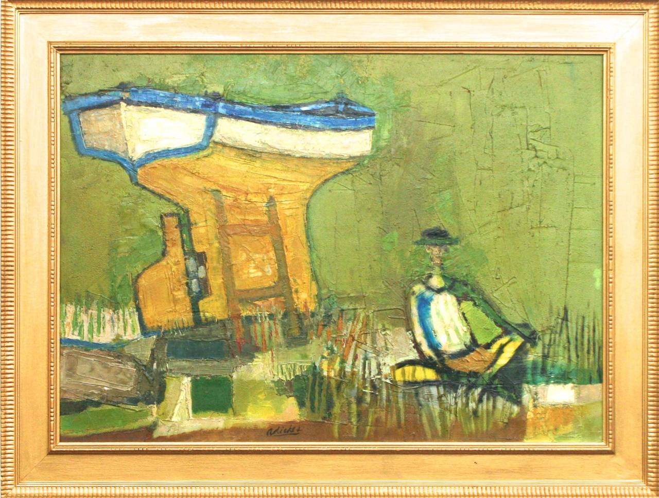 Mid-Century Modern Oil on Canvas Painting by David Adickes, circa 1962 2
