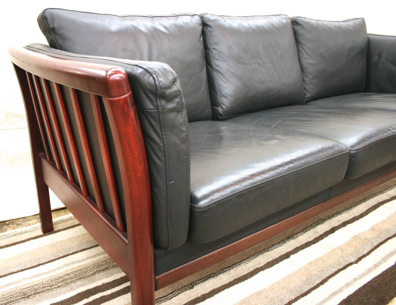 Scandinavian Modern Rosewood And Black Leather Sofa 3
