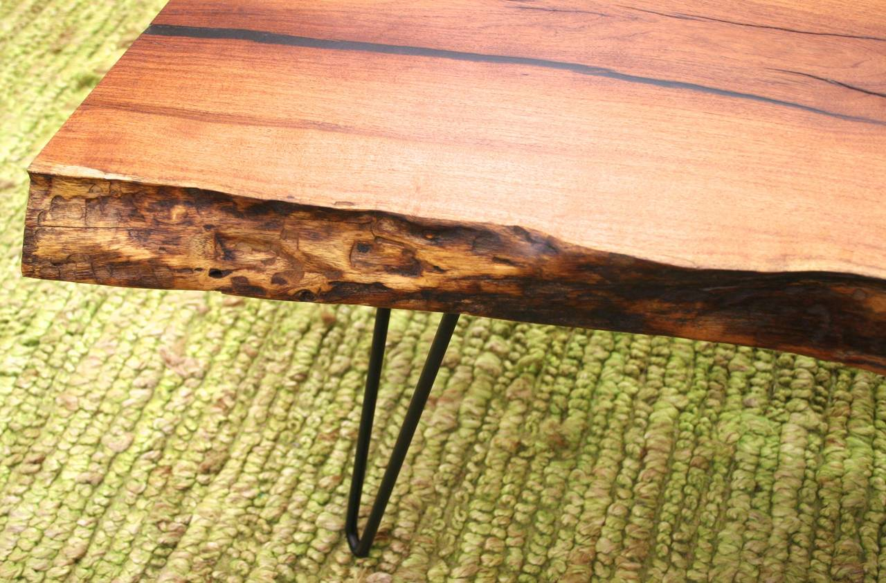 Solid Mesquite Artisan Made Coffee Table With Live Edge And Turquoise Inlay At 1stdibs