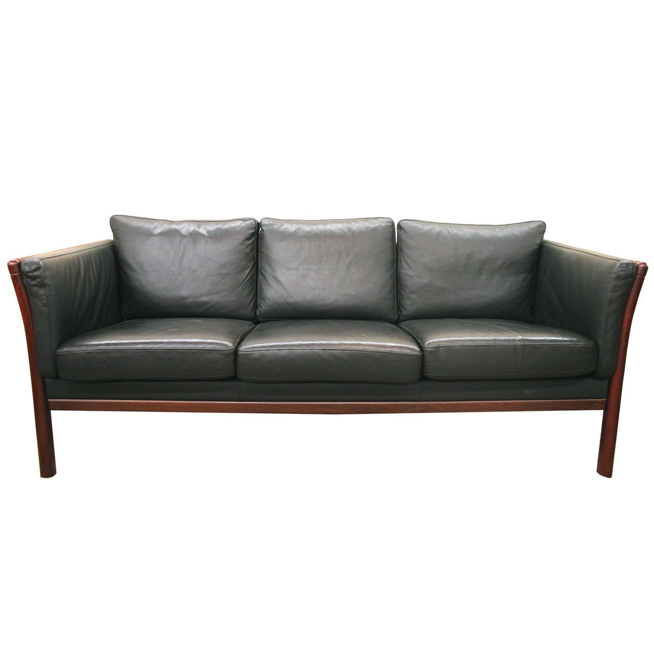 Scandinavian Modern Rosewood And Black Leather Sofa At 1stdibs