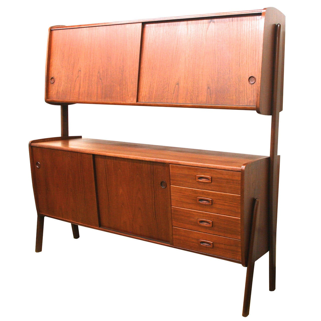 Italian modern teak credenza and dry bar at 1stdibs for Home dry bar furniture