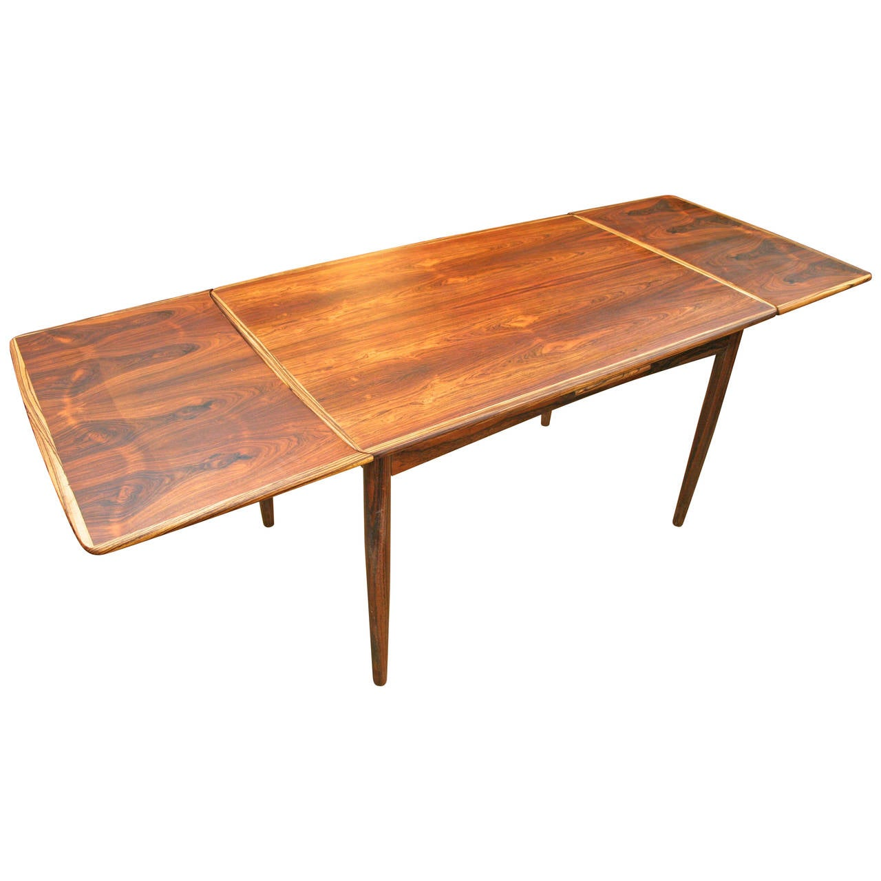 Danish mid century modern rosewood dining table with 2 for Dining table with two leaves