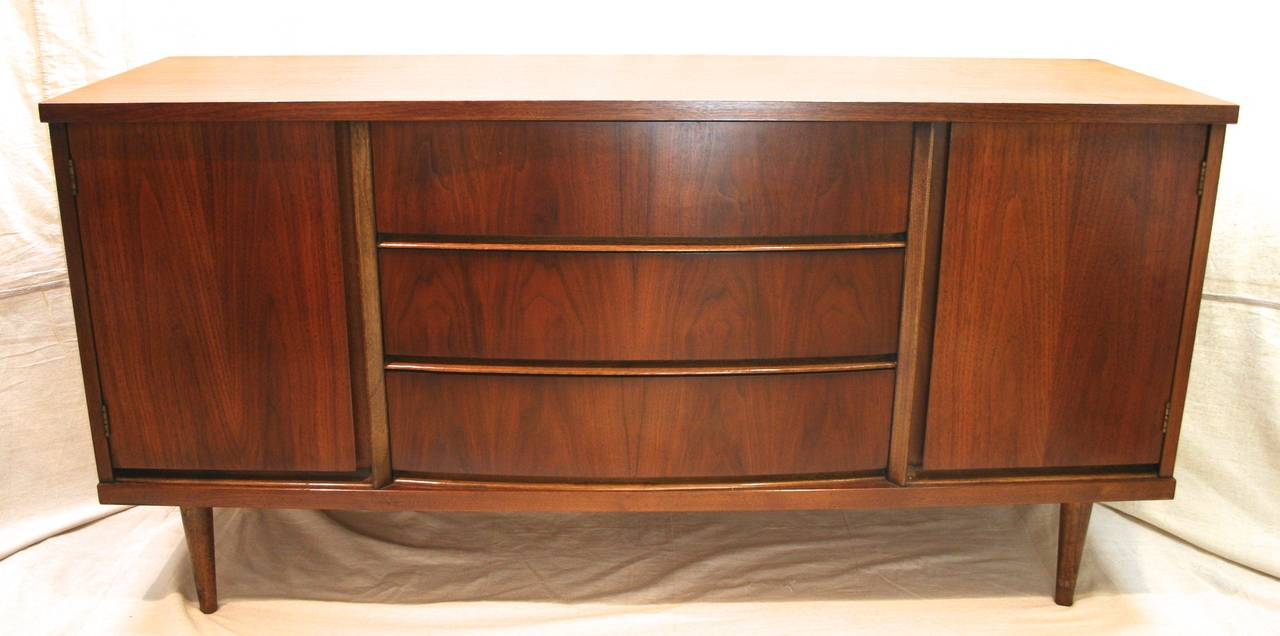 Mid Century Modern Walnut Buffet Or Credenza By Bassett C