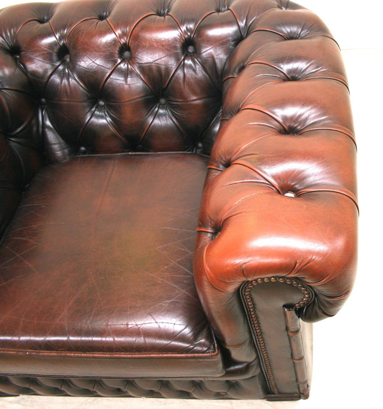 Leather Chesterfield Club Chair With Brass Nailheads And