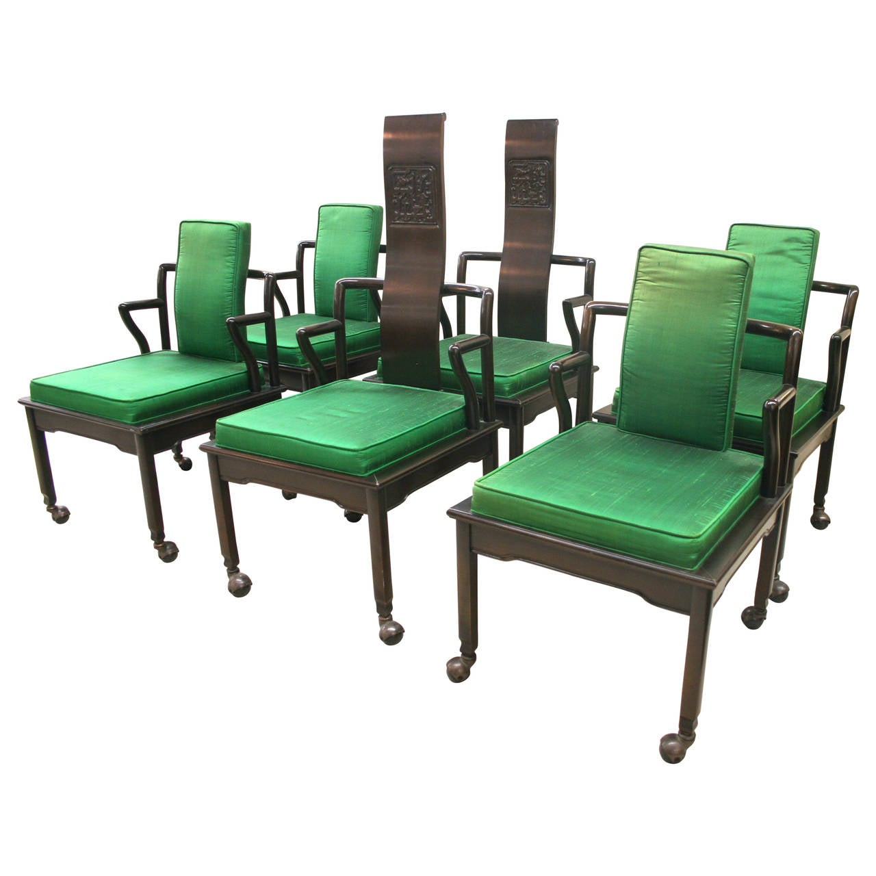 widdicomb set of six asian modern black lacquer dining