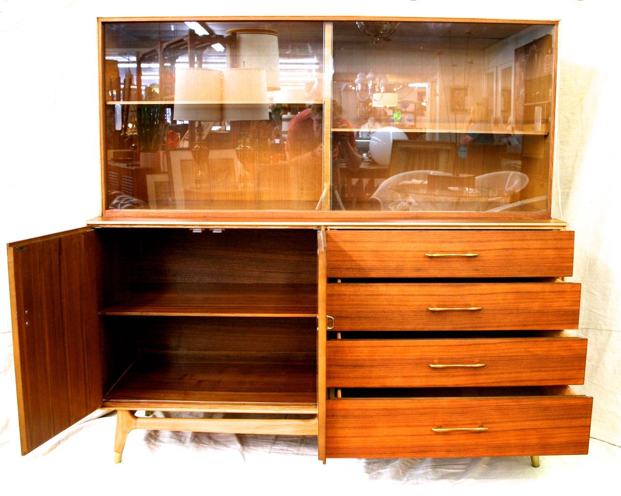 Mid-Century Modern Teak China Cabinet by Rway, circa 177 at 17stdibs