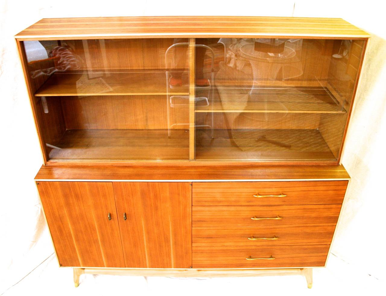 Mid century modern teak china cabinet by rway circa 1960 for Modern teak kitchen cabinets