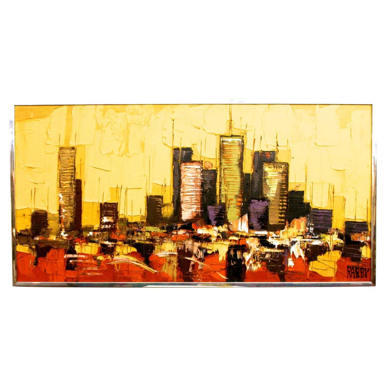 Mid Century Modern Abstract Houston Skyline Oil Painting