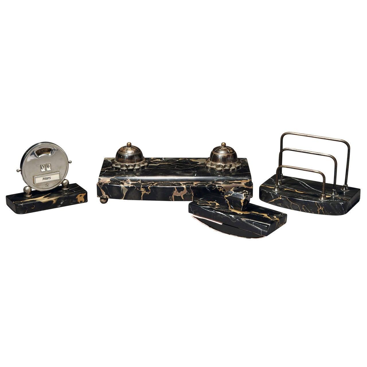 Art Deco Portor Marble Desk Set