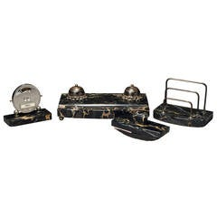 Art Deco Portor Marble Desk Set