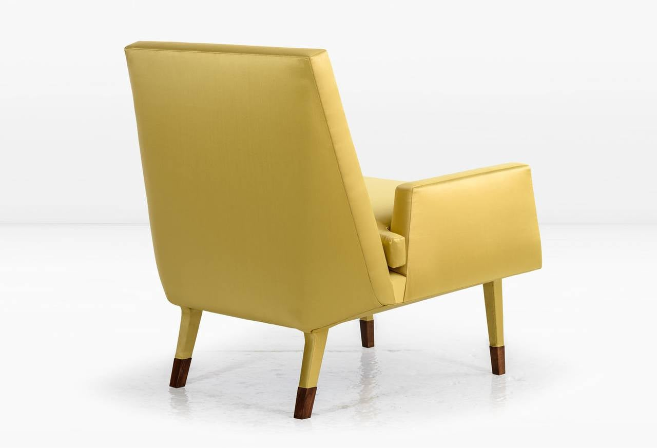 American Angott Club Chair or Armchair with Walnut Sabot in Gold Silk and Cotton Satin  For Sale