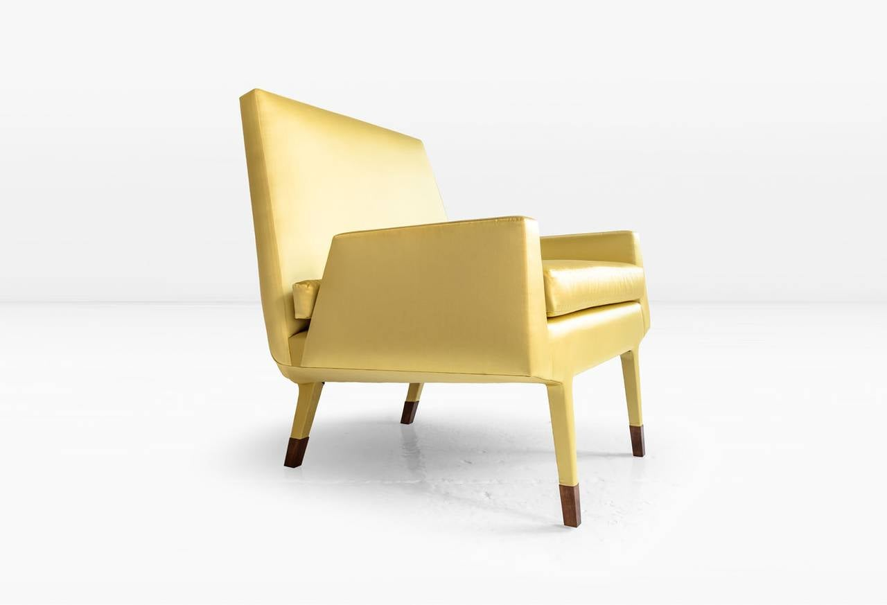 Modern Angott Club Chair or Armchair with Walnut Sabot in Gold Silk and Cotton Satin  For Sale