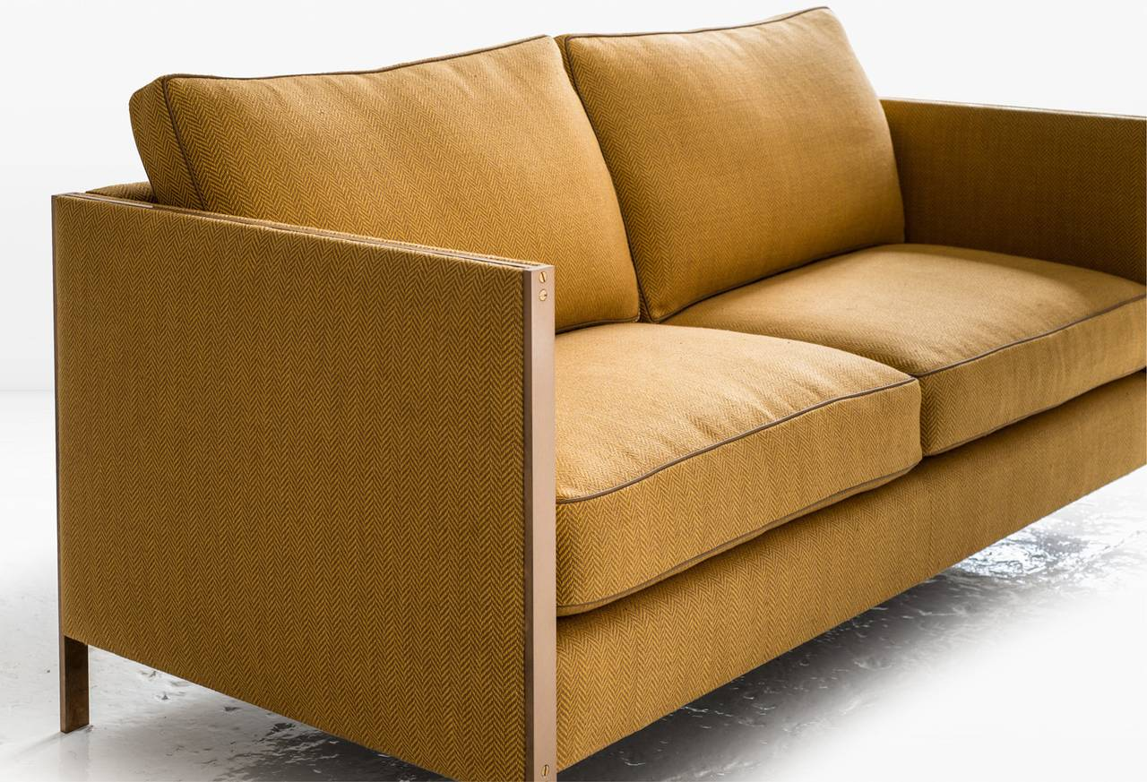 Armstrong Settee or Loveseat with Bronze Frame, Down-Filled Herringbone Linen 2