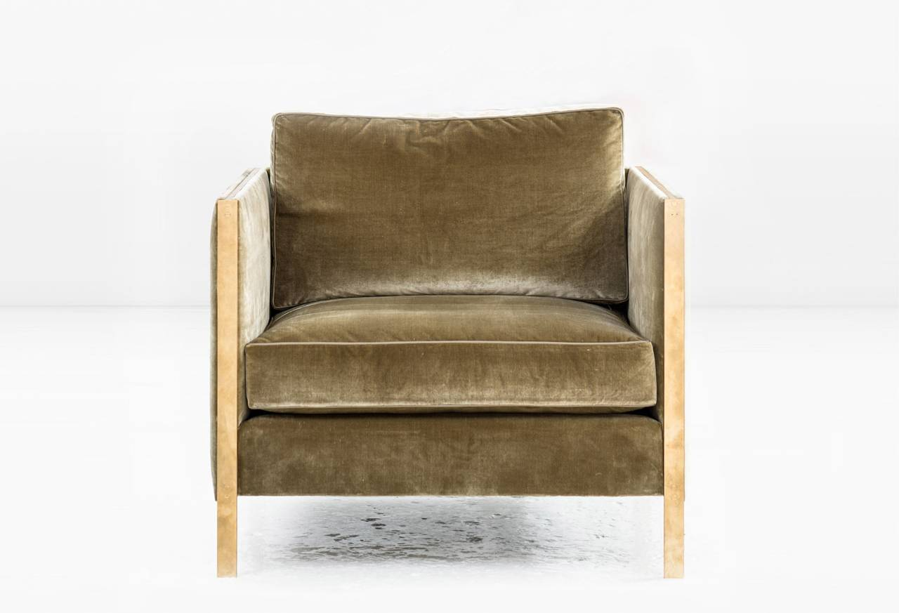 Armstrong Armchair Or Club Chair In Green Silk Velvet With Solid Brass  Frame 2