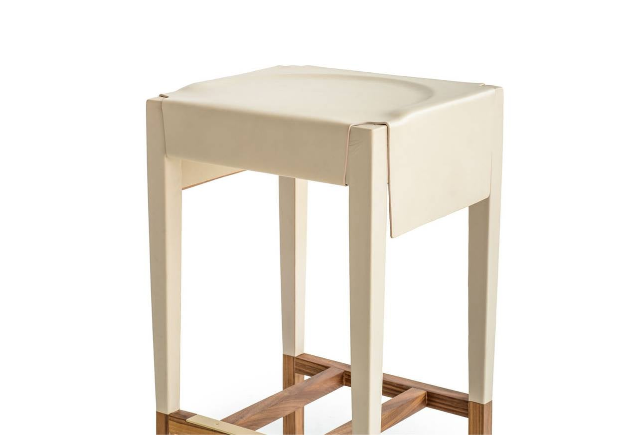American Cassius Barstool with Cream Molded Leather, Solid Walnut Frame, Brass Footrest For Sale