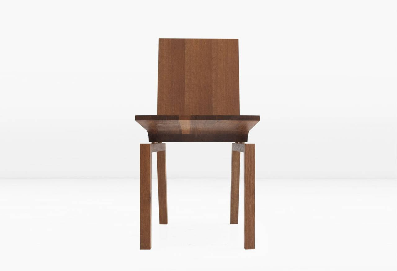 Modern Corbett Dining Chair in Solid White Oak with Bronze Standoffs For Sale