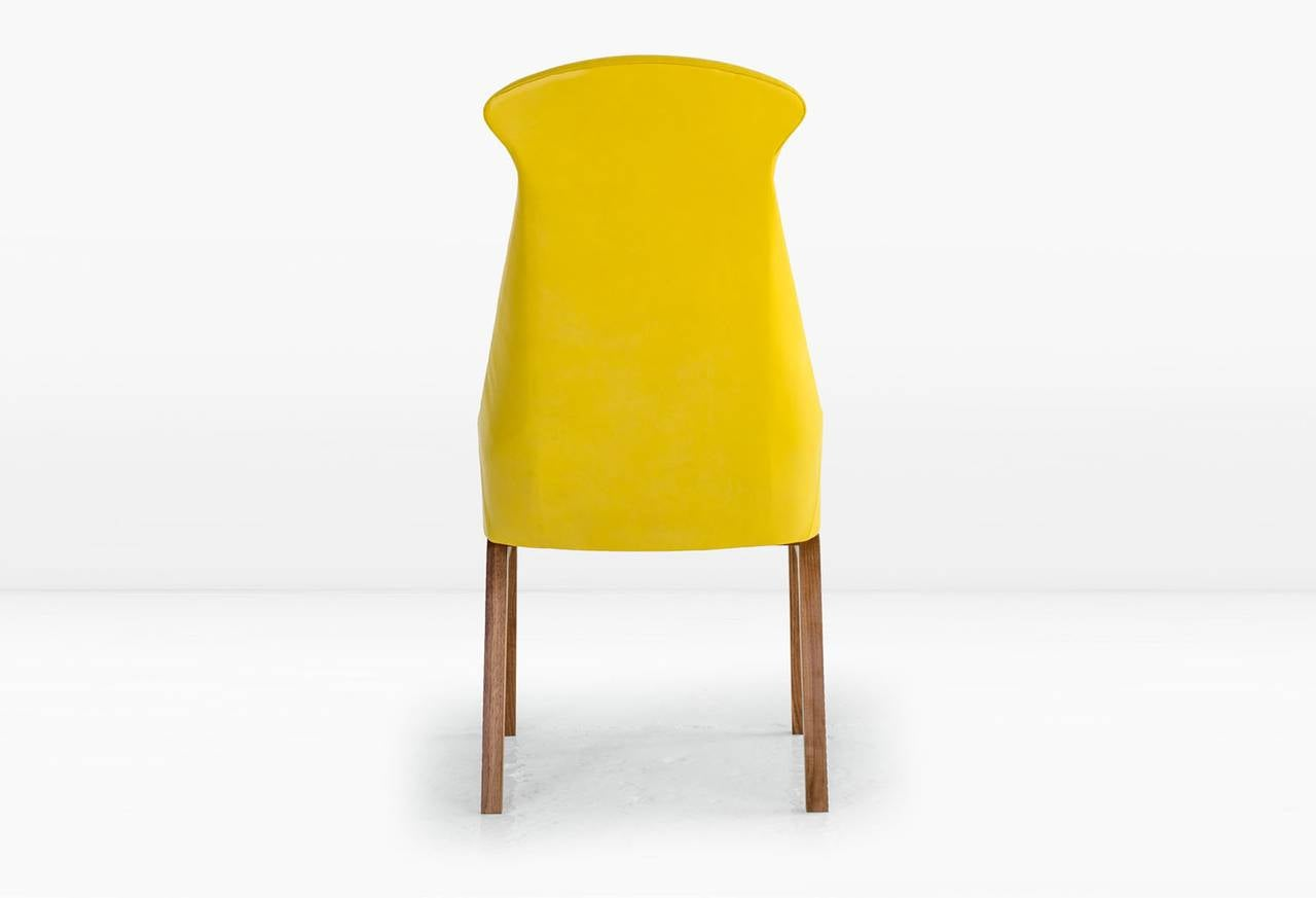 Evander dining chair in yellow leather with solid walnut base image 4