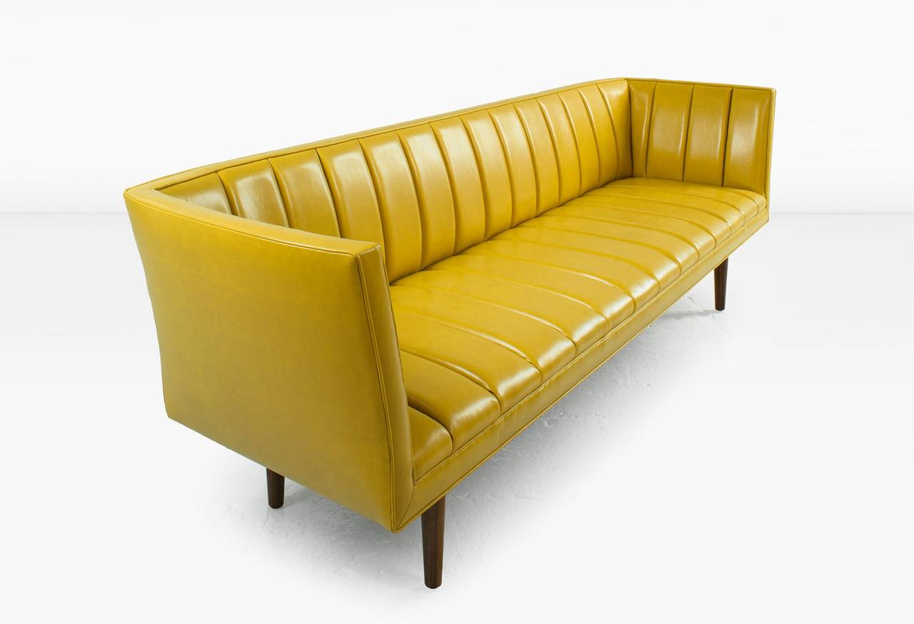Famechon Sofa with Channeled Back and Seat, Walnut Legs, Yellow Leather For Sale at 1stdibs