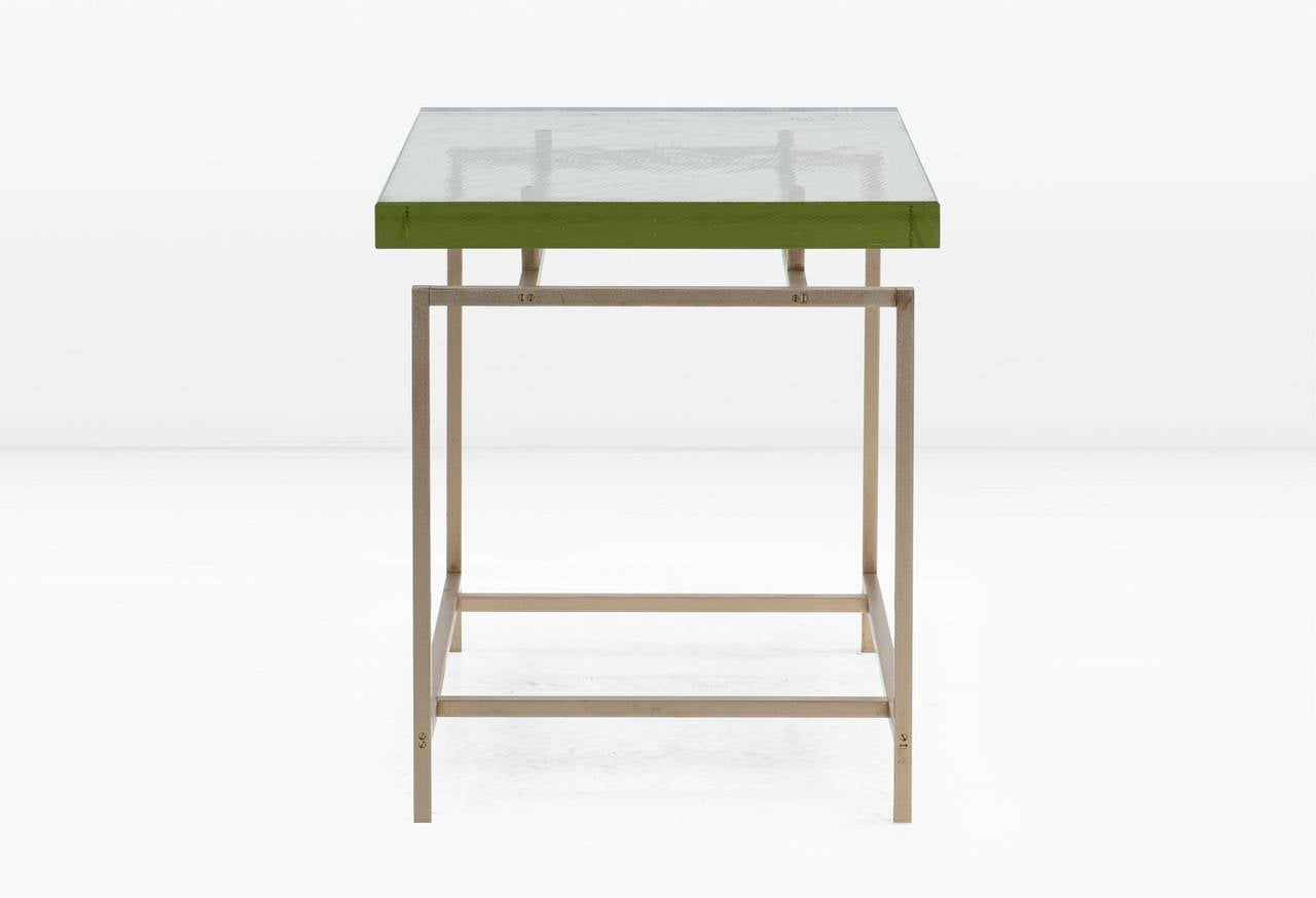 Frazier side table with thick pyrex glass top and silicon for Side table base