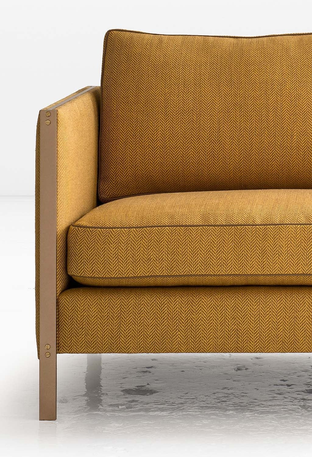 Armstrong Settee or Loveseat with Bronze Frame, Down-Filled Herringbone Linen 3