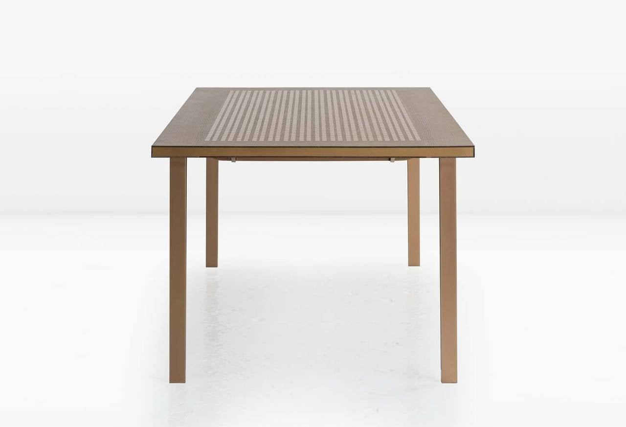 Modern Baer Table with Marquetry, Fumed White Oak, Silicon Bronze Inlay and Base For Sale
