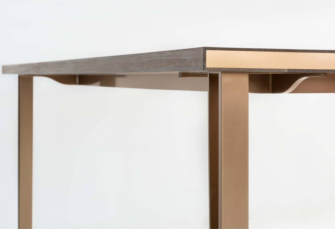 Baer Table with Marquetry, Fumed White Oak, Silicon Bronze Inlay and Base In Excellent Condition For Sale In New York, NY