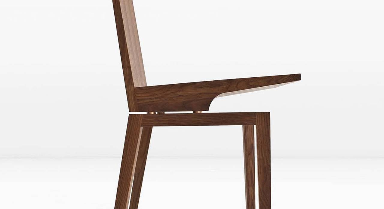 American Corbett Dining Chair in Solid White Oak with Bronze Standoffs For Sale