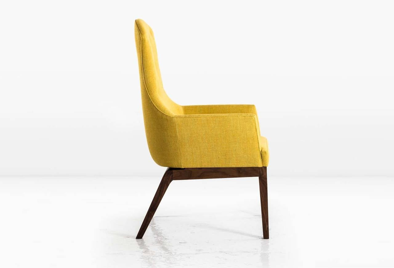 Modern Evander Chair or Armchair in Yellow Cotton Linen Weave with a Walnut Base For Sale