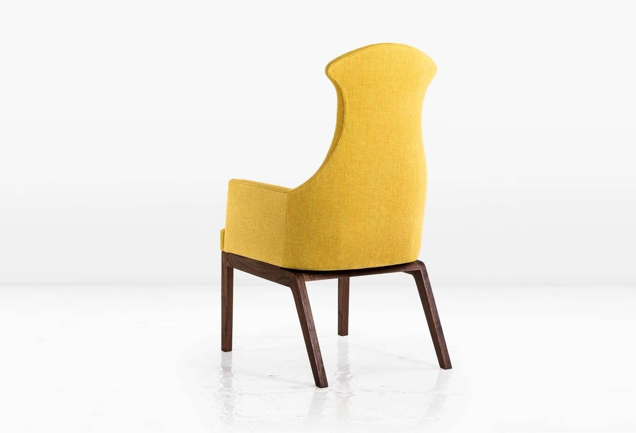 American Evander Chair or Armchair in Yellow Cotton Linen Weave with a Walnut Base For Sale