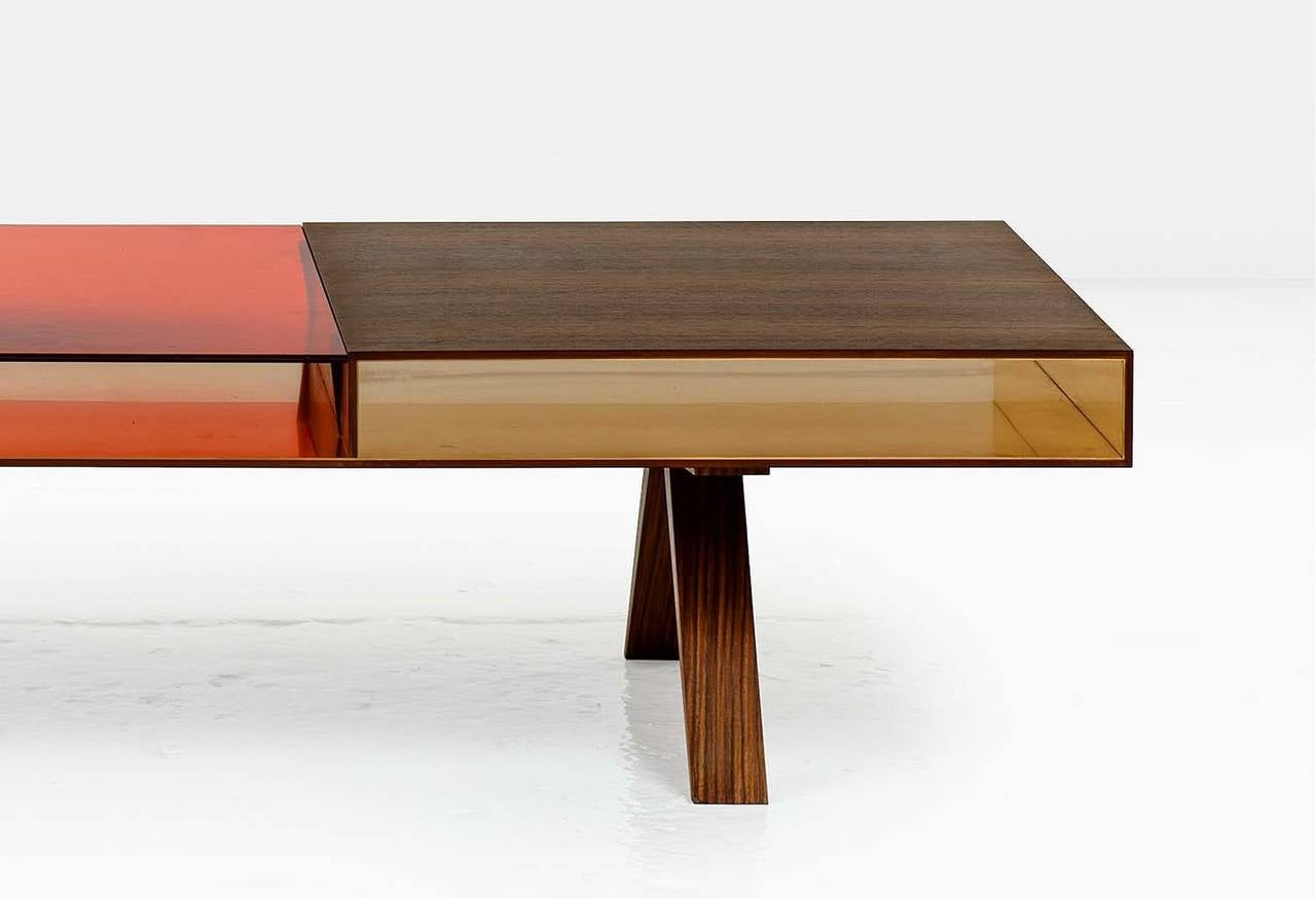 Gilroy Coffee Table With Santos And Colored Italian Glass Top Bronze Interior
